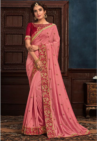 Pink Art Silk Saree Pink Raw Silk Blouse YD2154EX - Siya Fashions