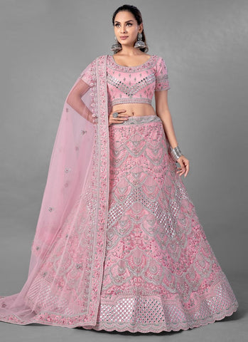 Pink Bridal Wedding Ceremony Lehenga In Net FZMAY291