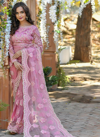 Pink Reception Party Wear Net Saree SSFWED40 - Siya Fashions