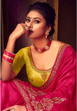 Load image into Gallery viewer, Pink Silk Saree Yellow Dupion Blouse With Stone Work YDS120SF - Siya Fashions
