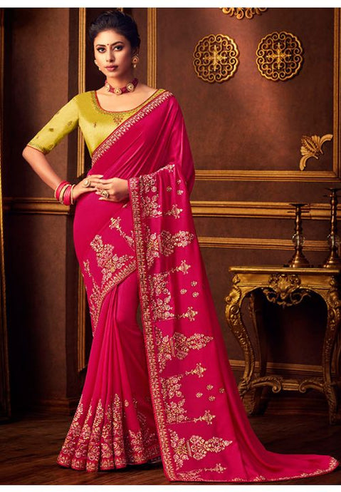 Pink Silk Saree Yellow Dupion Blouse With Stone Work YDS120SF - Siya Fashions