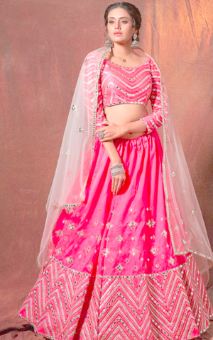 Pink Wedding Sangeet Lehenga Choli In Art Silk SFASHIONS45