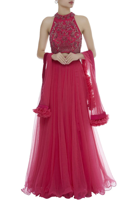 Pink Beaded Lehenga Set With Sequins SFIN309 - Siya Fashions
