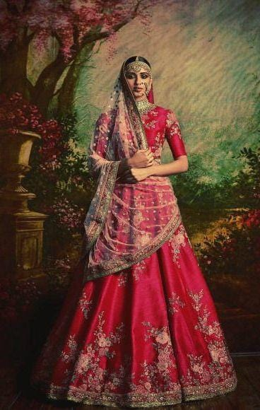 Pink Bridal Silk Lehenga Set Sequin Motif Disc Work SFINSB94