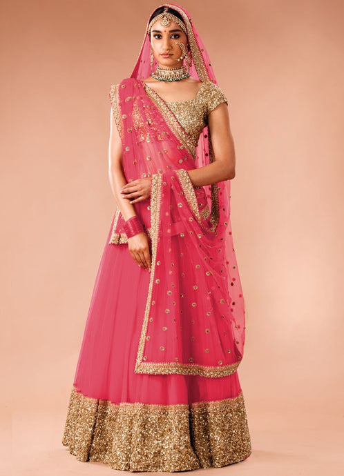 Pink Lehenga With Sequin Glitter SIYA5026 - Siya Fashions