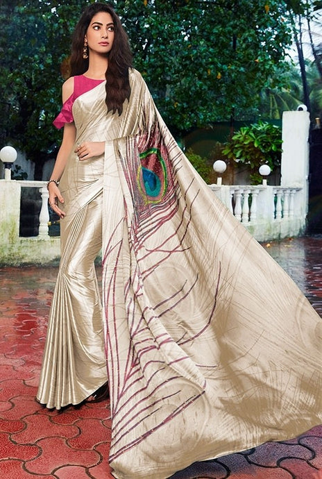 Pink Off Shoulder Partywear Cream Saree Satin SF13021 - Siya Fashions