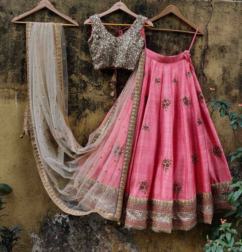 Pink Raw Silk Lehenga Stone Sequin SIYA128IN - Siya Fashions