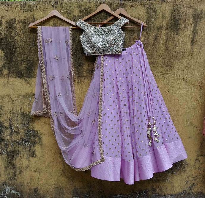 Purple Sequin Work Georgette Mirror Lehenga SIYA129IN - Siya Fashions