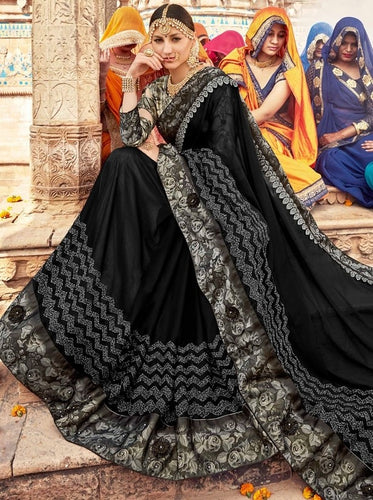 Pitch Black Grorgette Saree SIYA1126DYDS - Siya Fashions