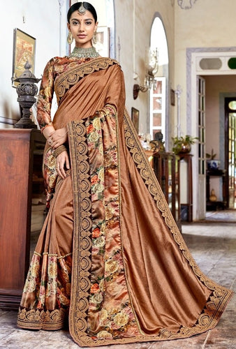 Pitch Brown Art Silk Saree SIYA1128DYDS - Siya Fashions