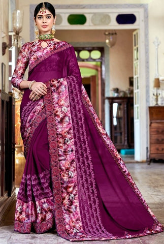 Pitch Purple Grorgette Saree SIYA1127DYDS - Siya Fashions