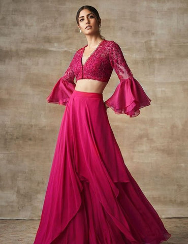 Plum Wine Lehenga Embroidery Prom Skirt SFINS244 - Siya Fashions