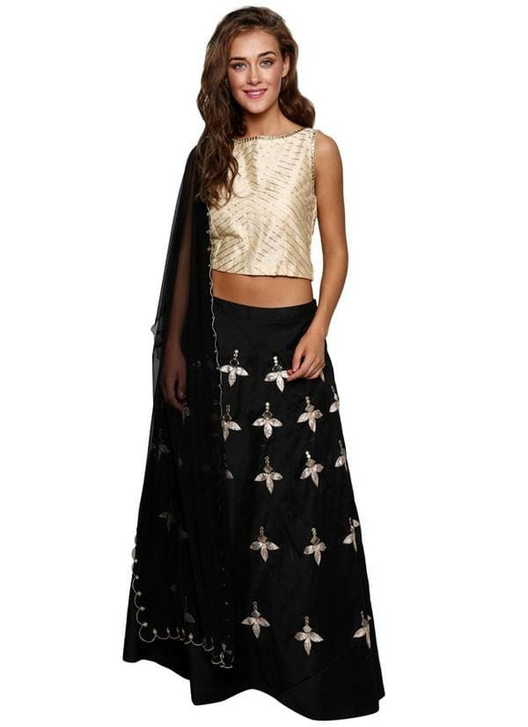 Plus Size Black Lehenga In Cotton Silk SF113YDS