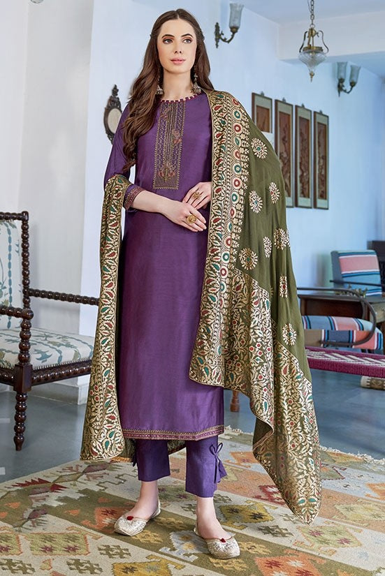 Plus Size Cotton Silk Resham Zari Suit SFPLS322 - Siya Fashions