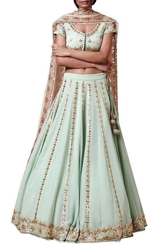 Plus Size Ice Blue Wedding Lehenga In Georgette SFY722D