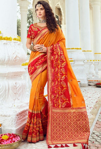 Prada Wedding Saree Orange Banarasi Silk Saree SIYA1224YDS