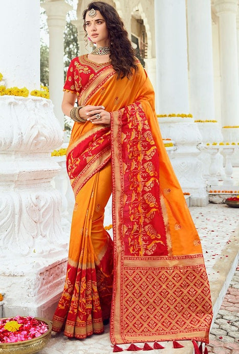 Prada Wedding Saree Orange Banarasi Silk Saree SIYA1224YDS - Siya Fashions