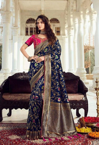 Prada Wedding Saree Blue Banarasi Silk SIYA032YDS - Siya Fashions