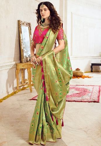 Prada Wedding Saree Green Banarasi Silk SIYA031YDS - Siya Fashions