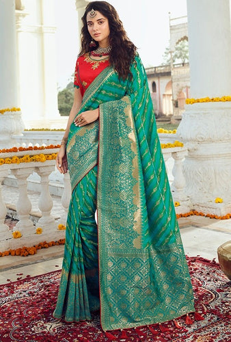 Prada Wedding Saree Green Banarasi Silk Saree SIYA030YDS - Siya Fashions