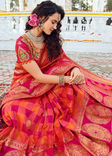 Load image into Gallery viewer, Prada Wedding Saree Hot Orange Banarasi Silk Saree SIYA126YDS - Siya Fashions