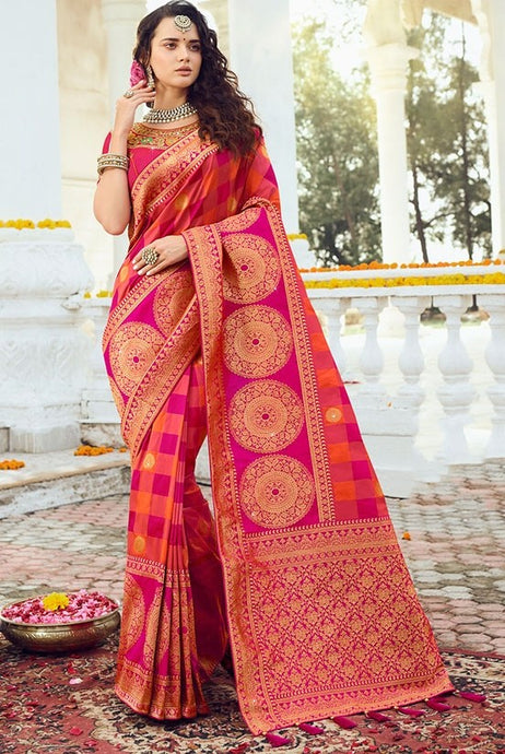 Prada Wedding Saree Hot Orange Banarasi Silk Saree SIYA126YDS - Siya Fashions
