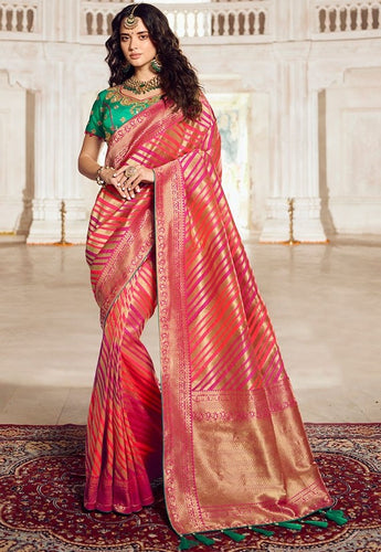 Prada Wedding Saree Hot Pink Banarasi Silk Saree SIYA125YDS - Siya Fashions