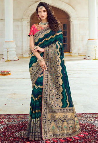 Prada Wedding Saree Hot Teal Banarasi Silk Saree SIYA127YDS - Siya Fashions