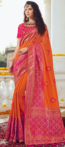 Prada Wedding Saree Orange Pink Banarasi Silk SIYA031YDS - Siya Fashions