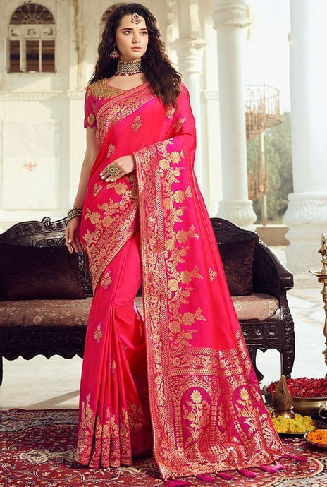 Prada Wedding Saree Punch Pink Banarasi Silk Saree SIYA029YDS - Siya Fashions