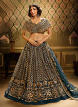 Load image into Gallery viewer, Pure Teal Gold Wedding Reception Net Lehenga Set SF2053FZD - Siya Fashions