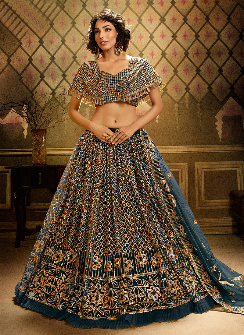 Pure Teal Gold Wedding Reception Net Lehenga Set SF2053FZD - Siya Fashions