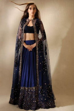 Pure Silk Navy Lehenga With Cape SFAL6554