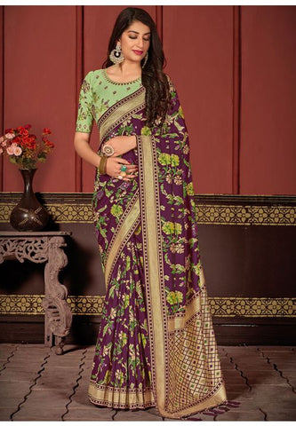 Purple Indian Wedding Saree In Banarasi Silk With Green Blouse SI23324YDS - Siya Fashions