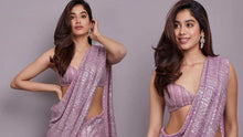 Load image into Gallery viewer, Purple Janvi Inspired Georgette Saree Sequin SIYABOL1222 - Siya Fashions