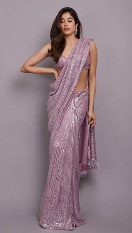 Purple Janvi Inspired Georgette Saree Sequin SIYABOL1222 - Siya Fashions