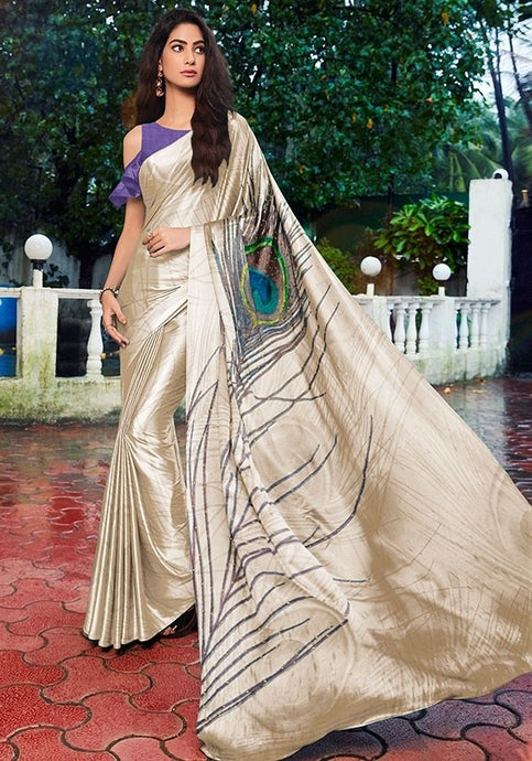 Purple Off Shoulder Partywear Cream Saree Satin SF13023 - Siya Fashions