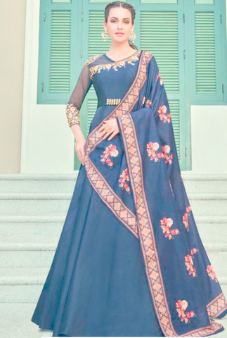 Queen Blue Readymade Anarkali Gown In Silk Embroidery Work APR215 - Siya Fashions