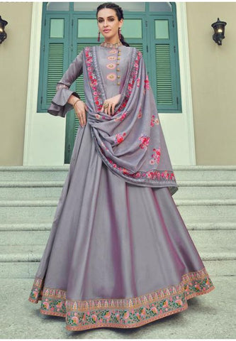 Queen Purple Readymade Anarkali Gown In Silk Embroidery Work APR213 - Siya Fashions