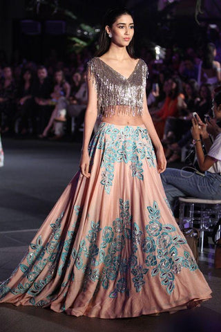 Quotidian Cocktail Bridal Lehenga In Peach With Floral Work SF89IN - Siya Fashions