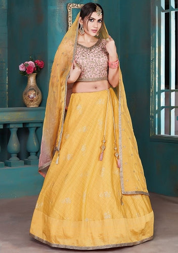 Ready To Wear Lehenga Silk Green YellowSF2220 - Siya Fashions