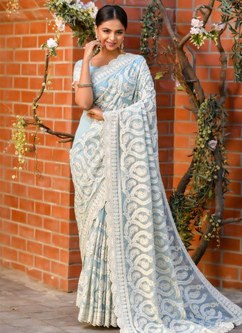Reception Party Wear Blue Georgette Saree SSFWED39 - Siya Fashions