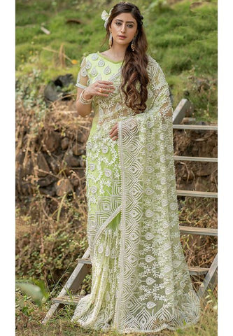 Reception Party Wear Green Net Extraordinary Handwork SFWED32 - Siya Fashions