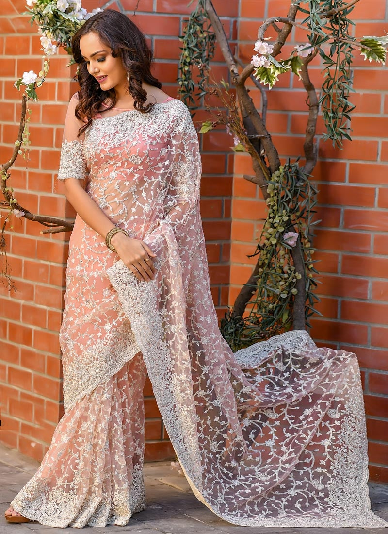 Reception Party Wear Pink Net Extraordinary Handwork SFWED38