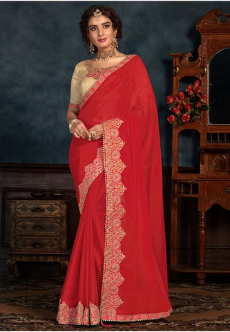 Red Art Silk Saree Gold Raw Silk Blouse YD2151EX - Siya Fashions
