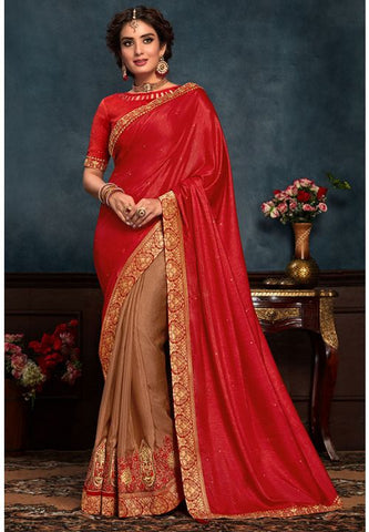 Red Art Silk Saree Hot Raw Silk Blouse YD2161EX - Siya Fashions