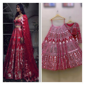 Red Bridal Leather Applique Work Lehenga Set SIYA423SDS - Siya Fashions