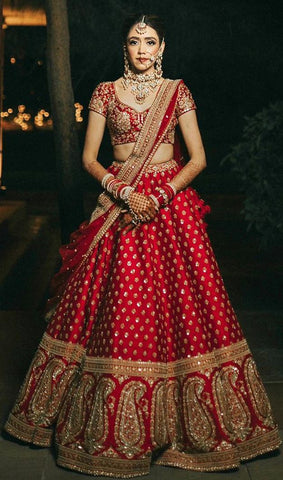 Red Bridal Wedding Royal Haute Couture Silk Lehenga BRIDAL421 - Siya Fashions