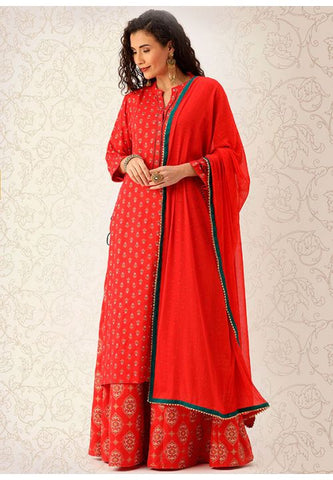 Red Holi Festival Palazzo Suits In Cotton SFPL57 - Siya Fashions