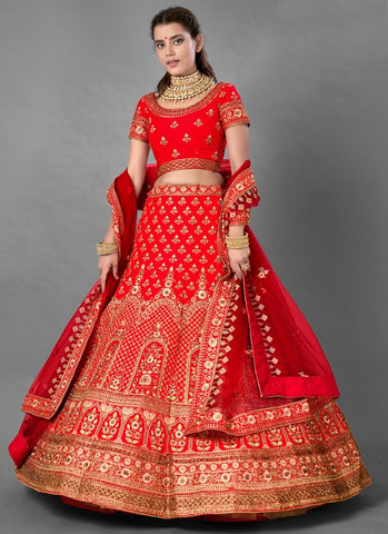 Red Hot Bridal Wedding Reception Lehenga Set In Art Silk  FZMAY289